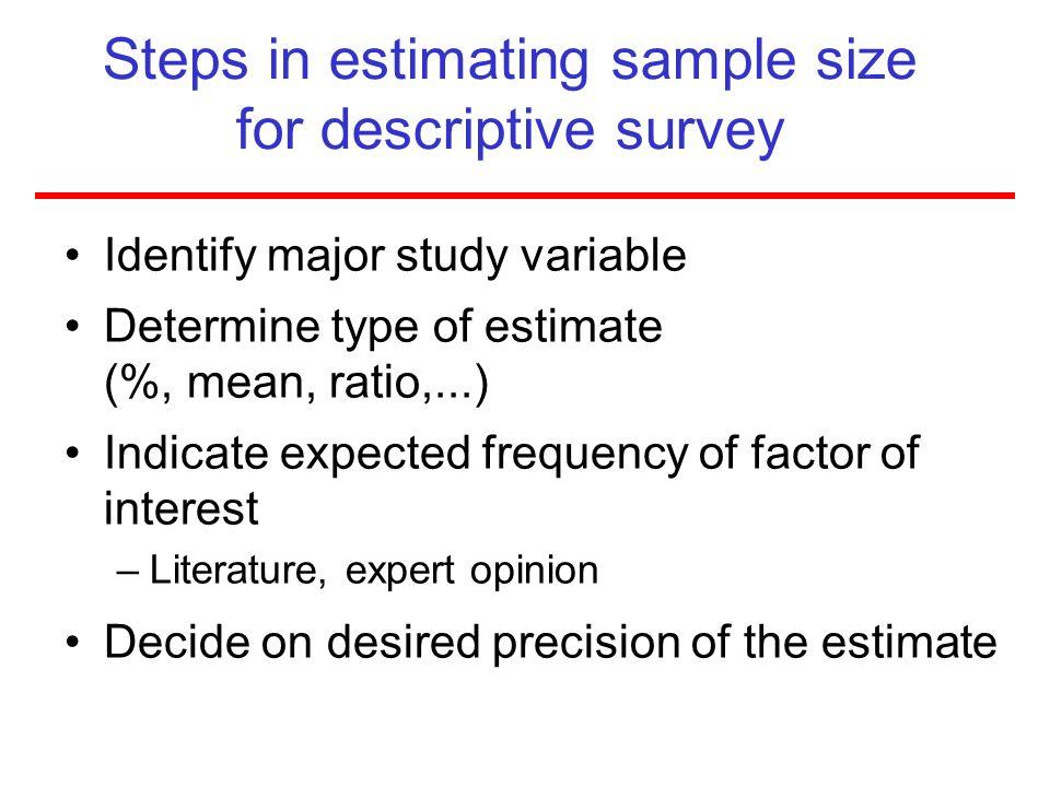 Steps in estimating sample size for descriptive survey