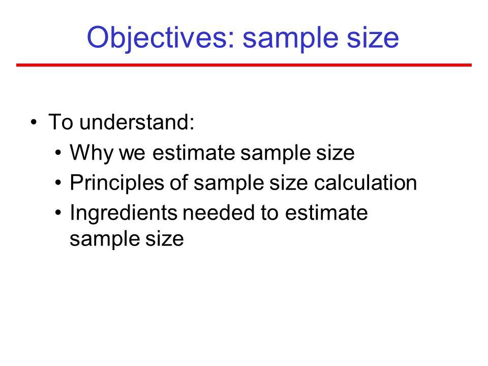 Objectives: sample size