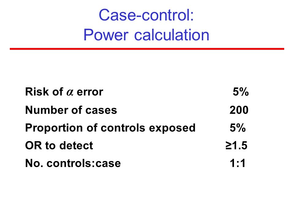Case-control: Power calculation