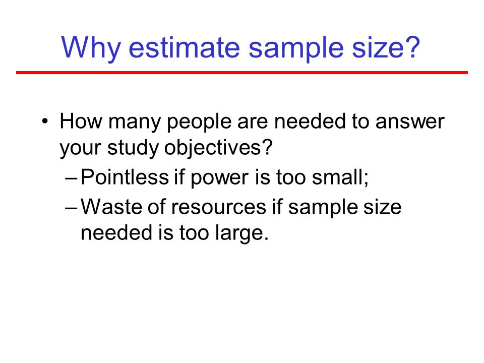 Why estimate sample size