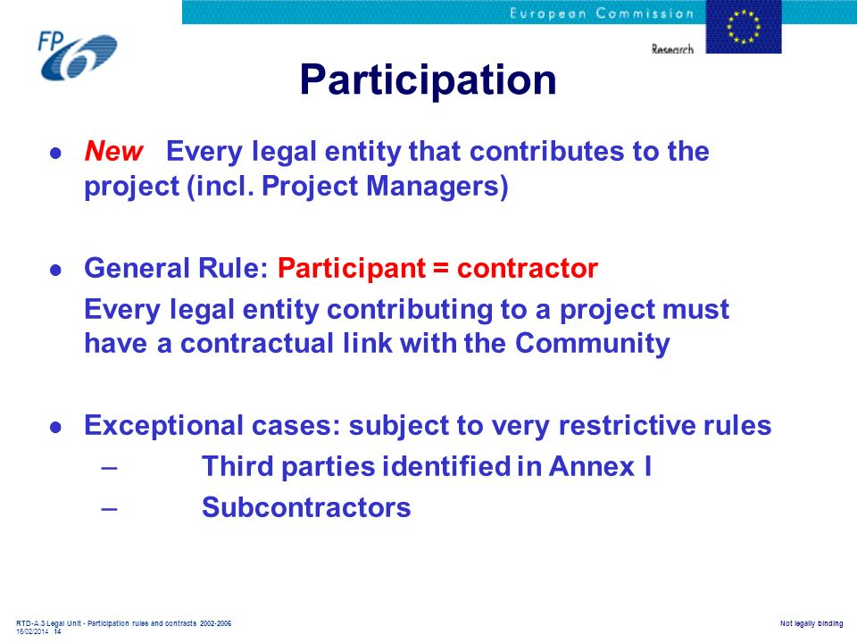 Participation New Every legal entity that contributes to the project (incl. Project Managers) General Rule: Participant = contractor.