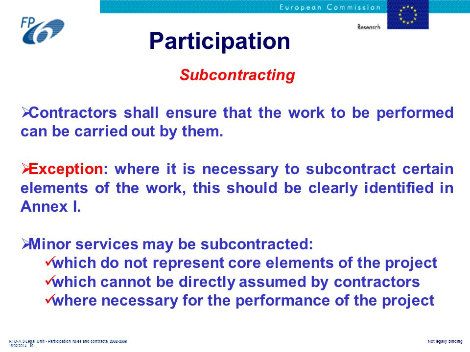 Participation Subcontracting