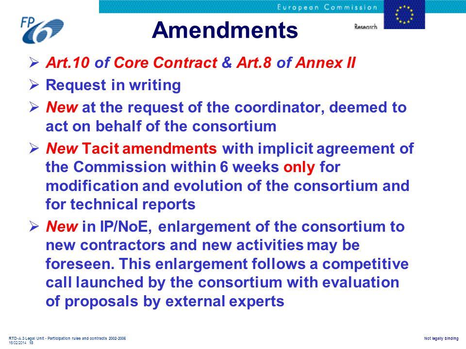 Amendments Art.10 of Core Contract & Art.8 of Annex II