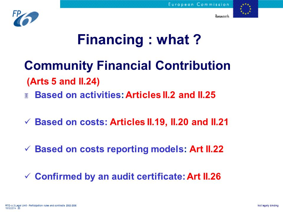 Financing : what Community Financial Contribution (Arts 5 and II.24)