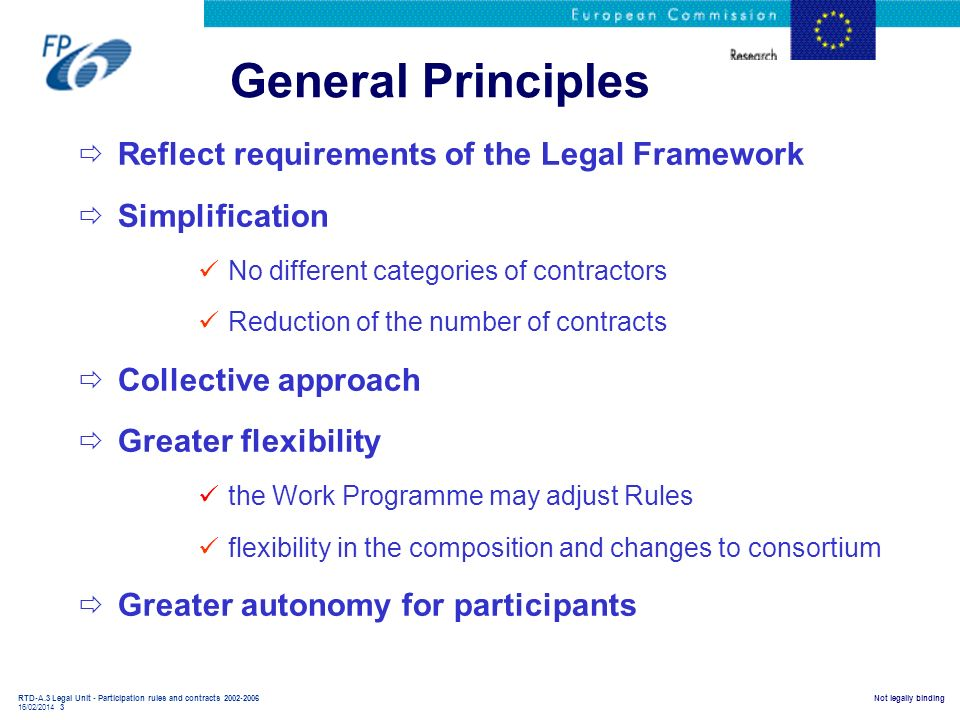 General Principles Reflect requirements of the Legal Framework