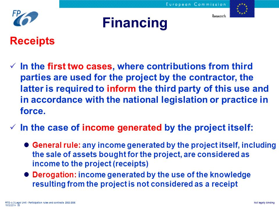 Financing Receipts.