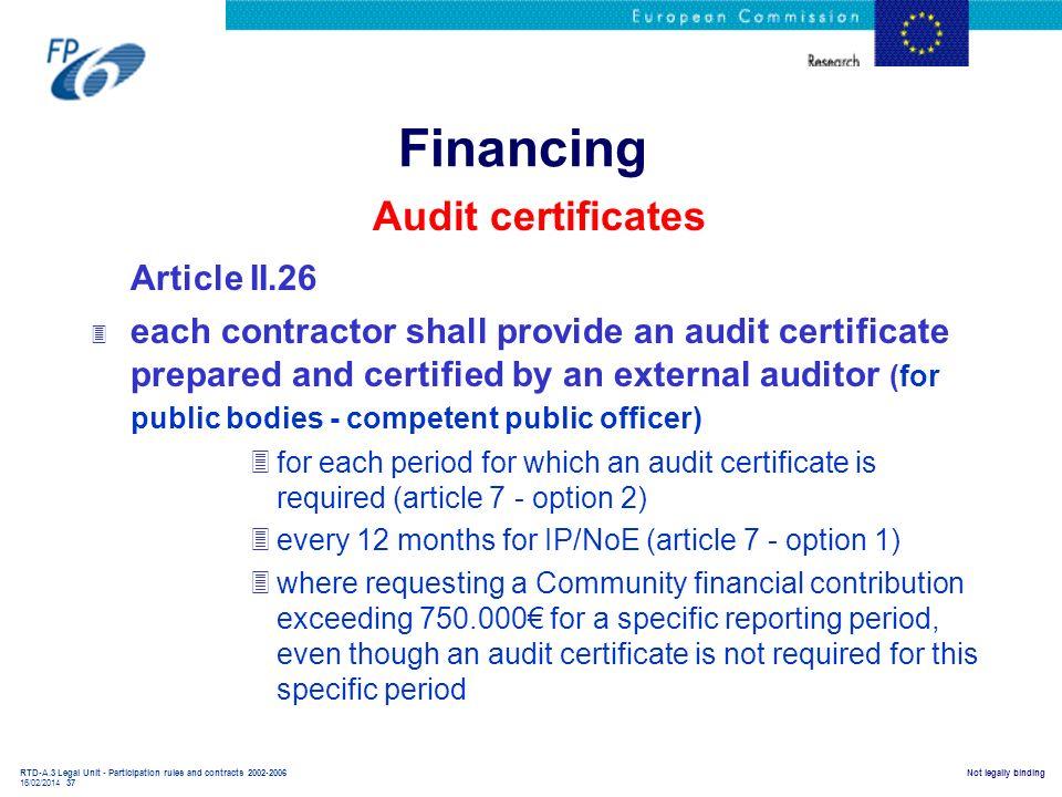 Financing Audit certificates Article II.26