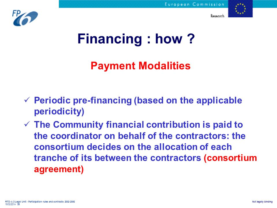 Financing : how Payment Modalities