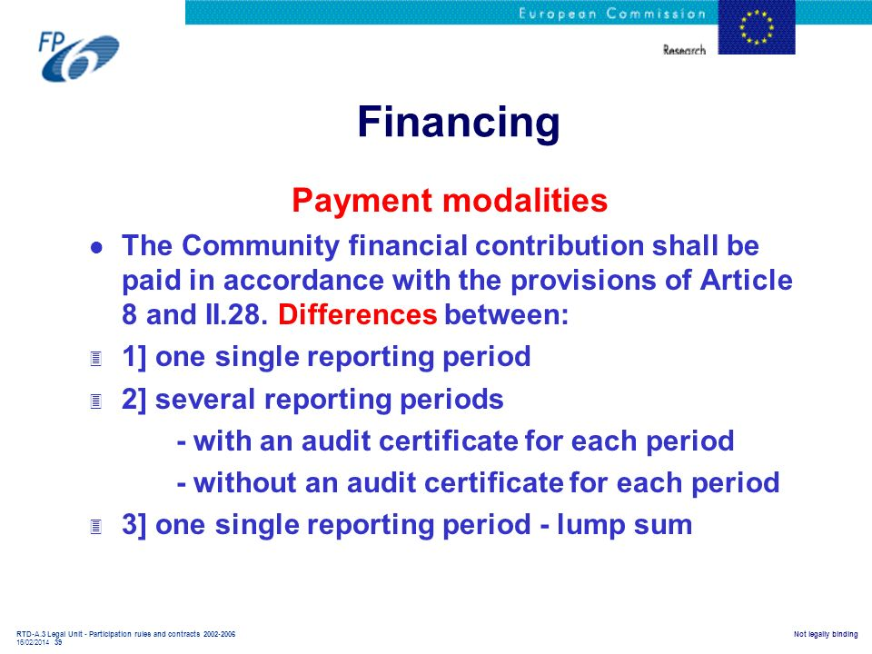Financing Payment modalities