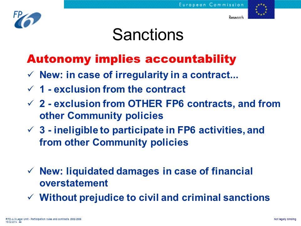 Sanctions Autonomy implies accountability