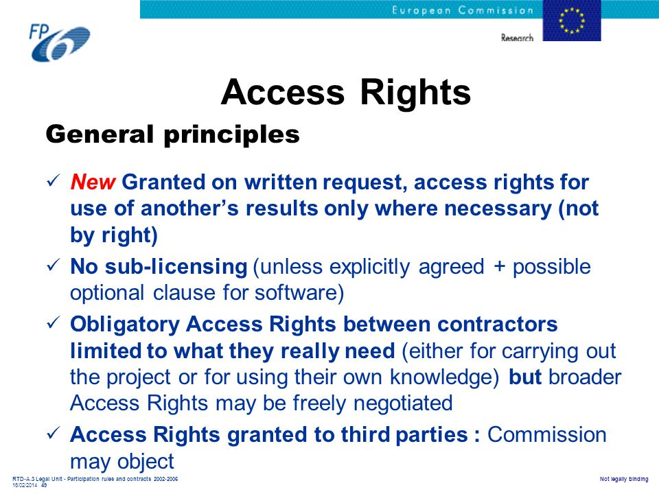 Access Rights General principles