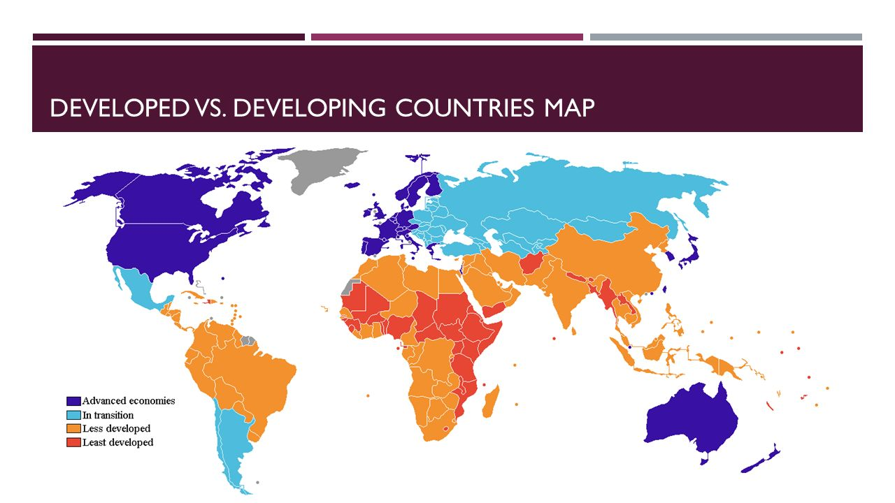 world map developed and developing countries image