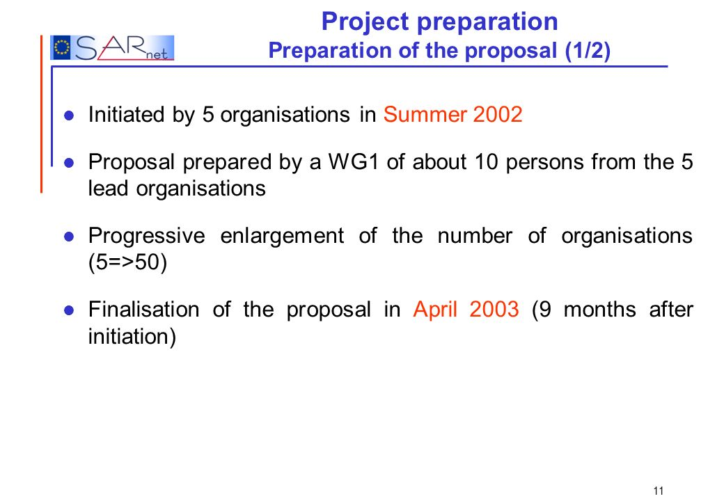 Project preparation Preparation of the proposal (1/2)