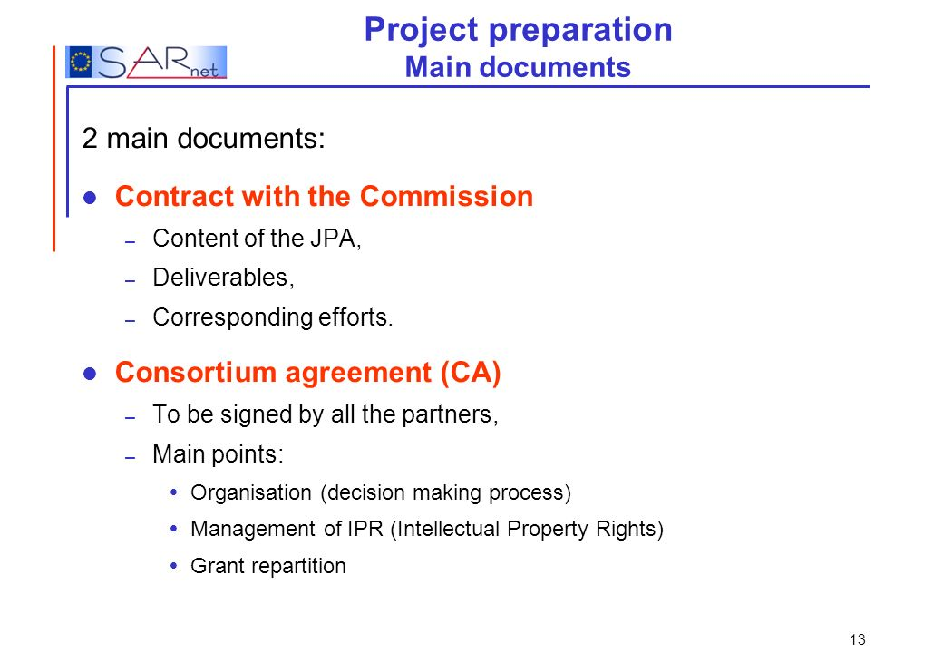 Project preparation Main documents