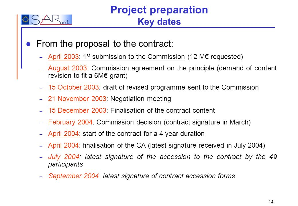 Project preparation Key dates