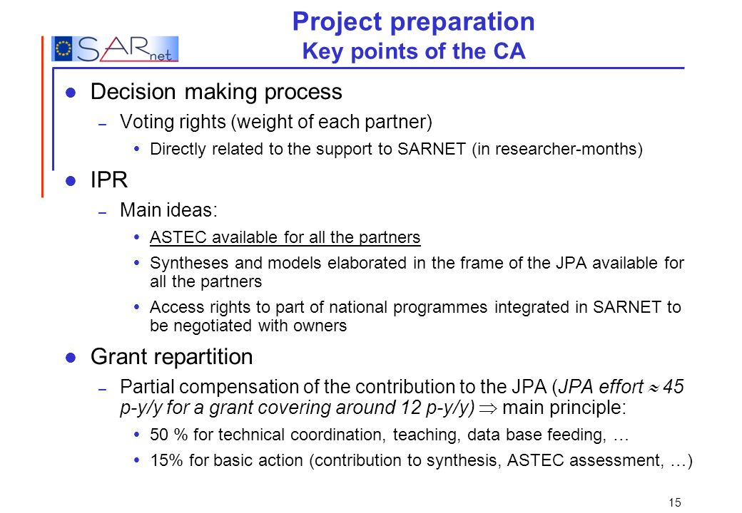 Project preparation Key points of the CA