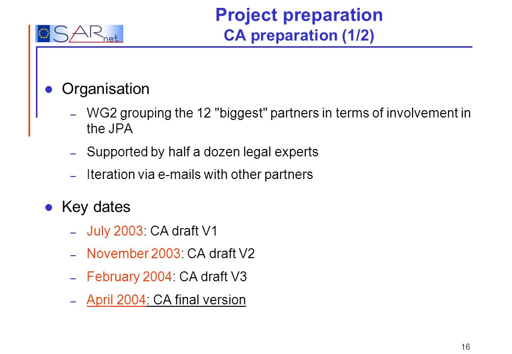 Project preparation CA preparation (1/2)