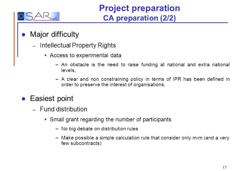 Project preparation CA preparation (2/2)