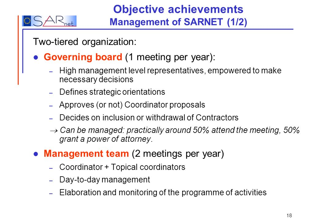 Objective achievements Management of SARNET (1/2)