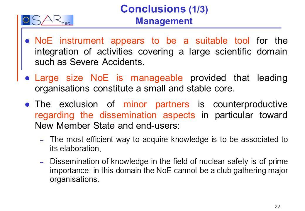 Conclusions (1/3) Management