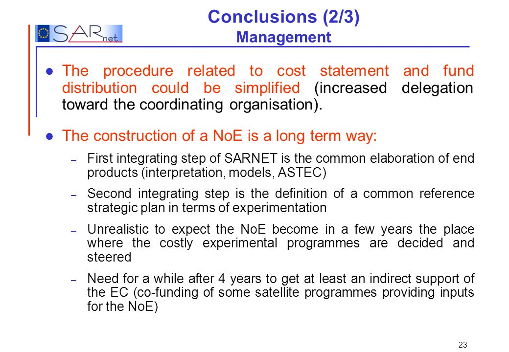 Conclusions (2/3) Management