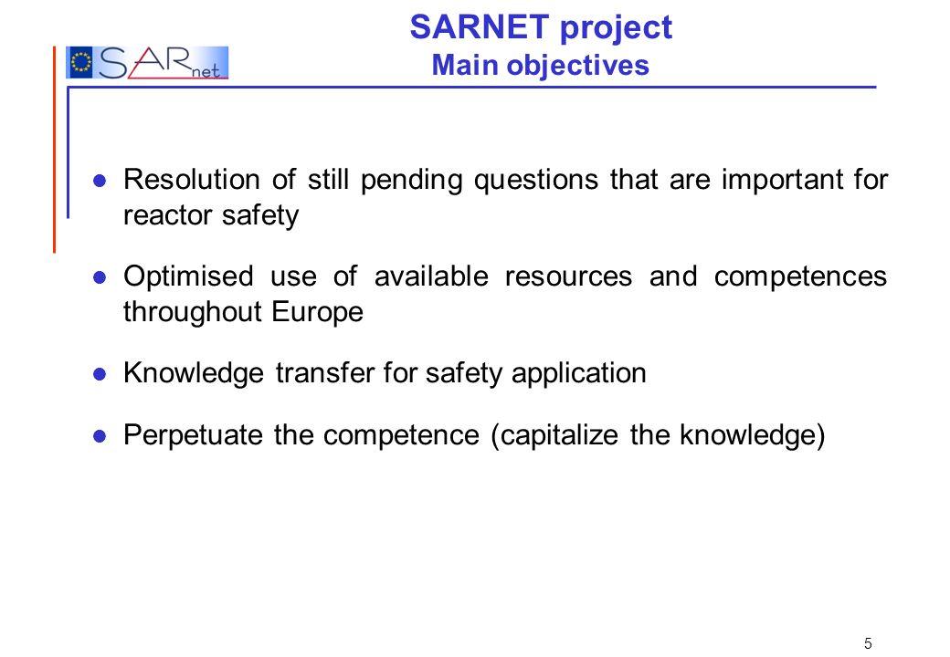 SARNET project Main objectives