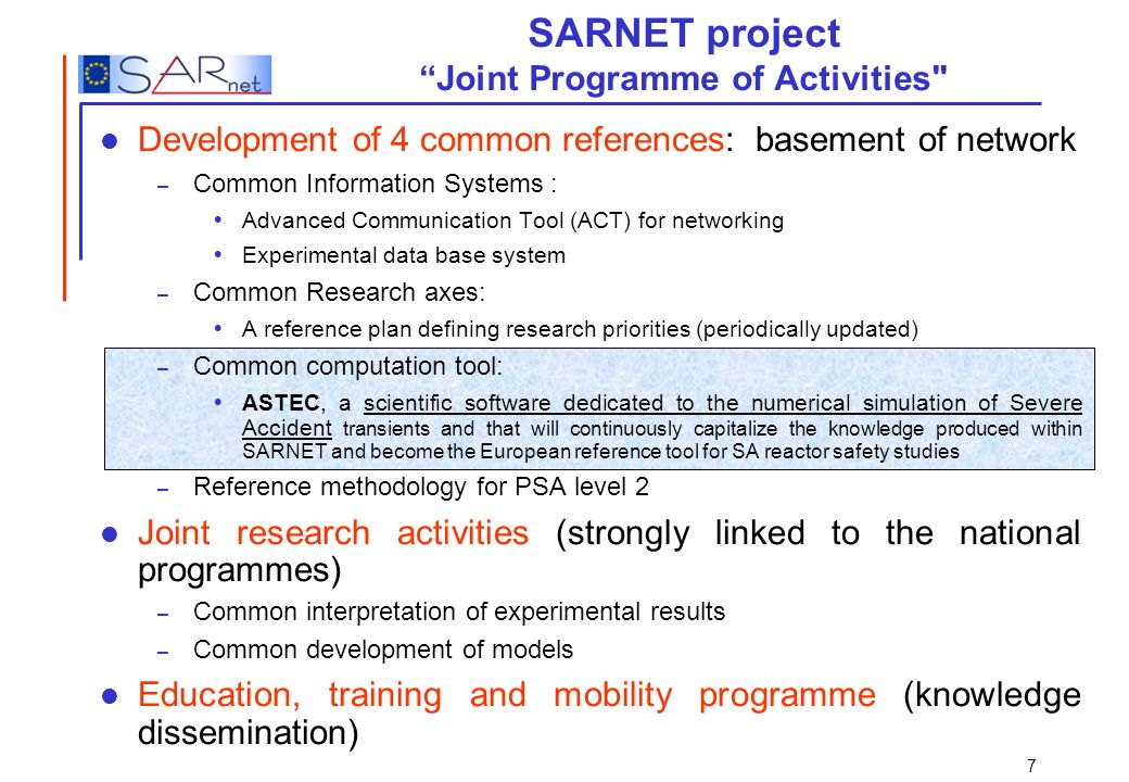 SARNET project Joint Programme of Activities