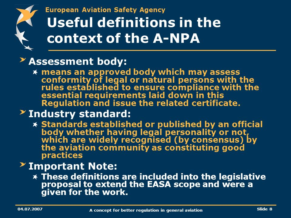 Useful definitions in the context of the A-NPA