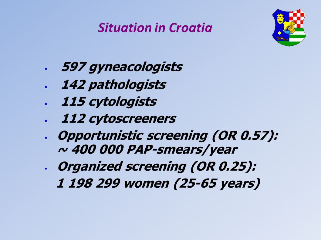 Situation in Croatia 597 gyneacologists 142 pathologists