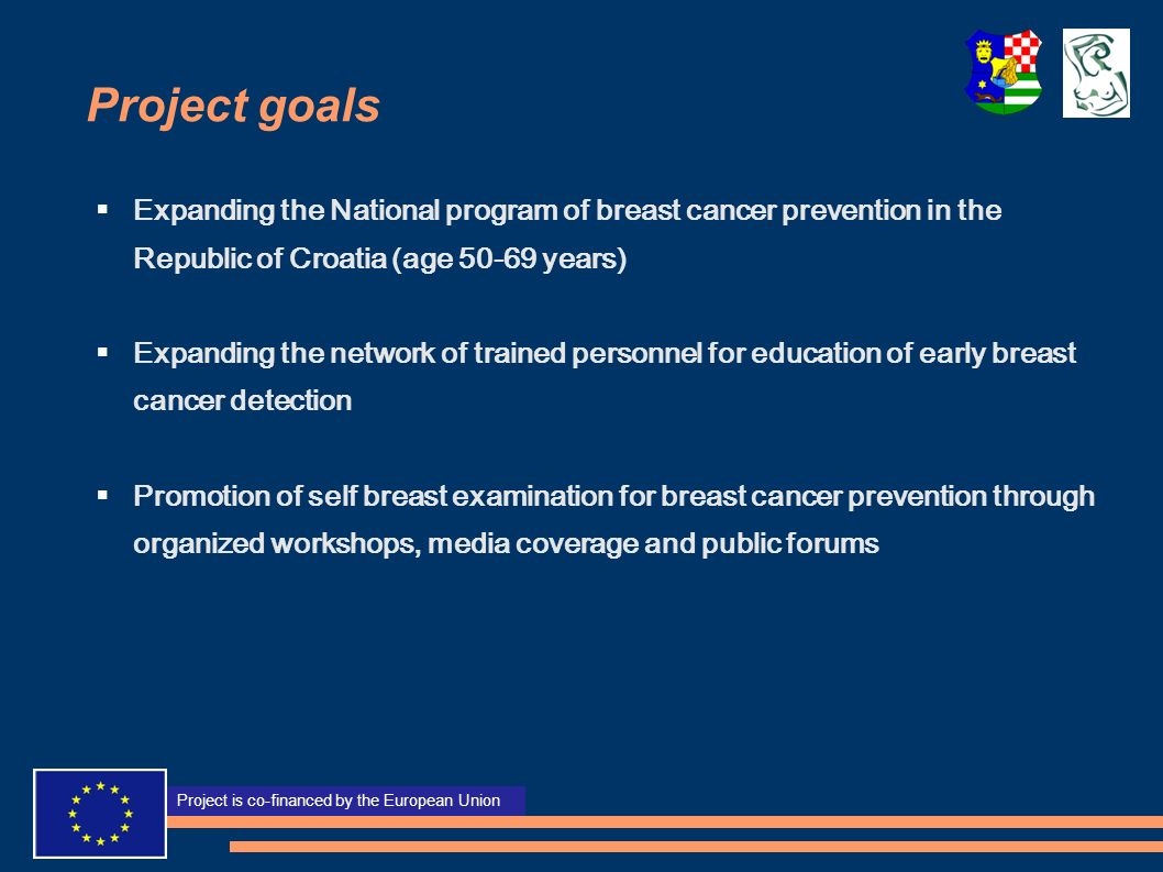 Project goals Expanding the National program of breast cancer prevention in the Republic of Croatia (age 50-69 years)