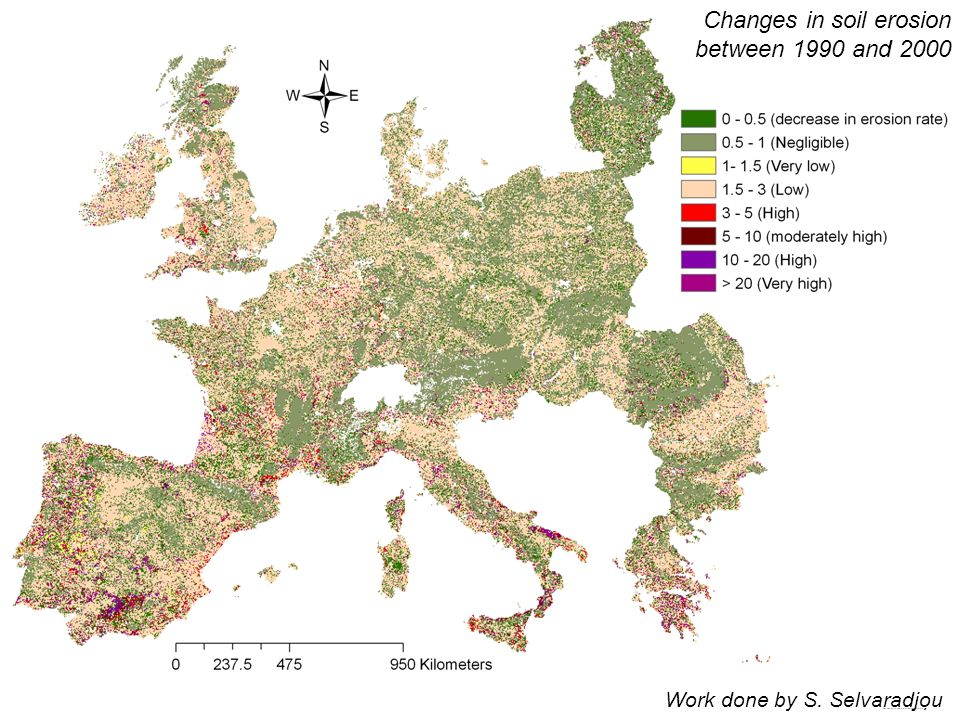 Changes in soil erosion between 1990 and 2000