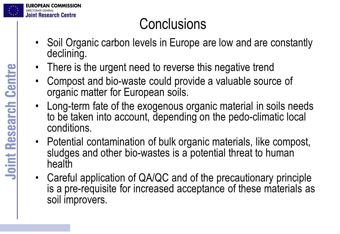 Conclusions Soil Organic carbon levels in Europe are low and are constantly declining. There is the urgent need to reverse this negative trend.
