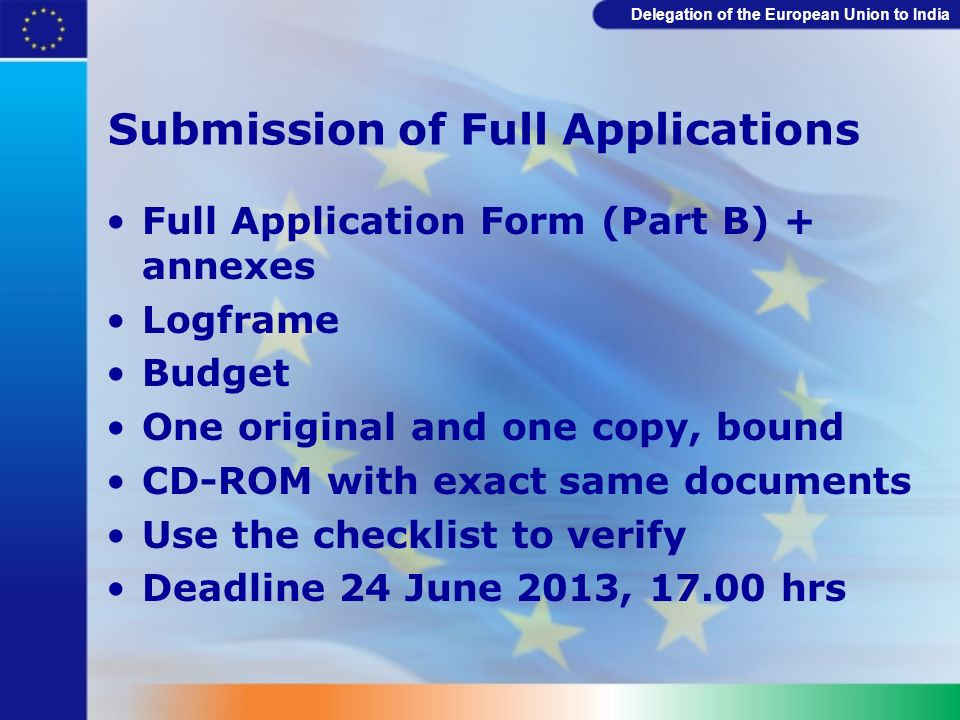 Submission of Full Applications
