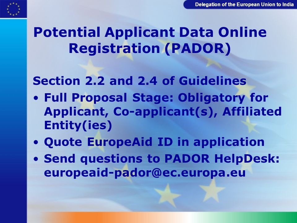 Potential Applicant Data Online Registration (PADOR)
