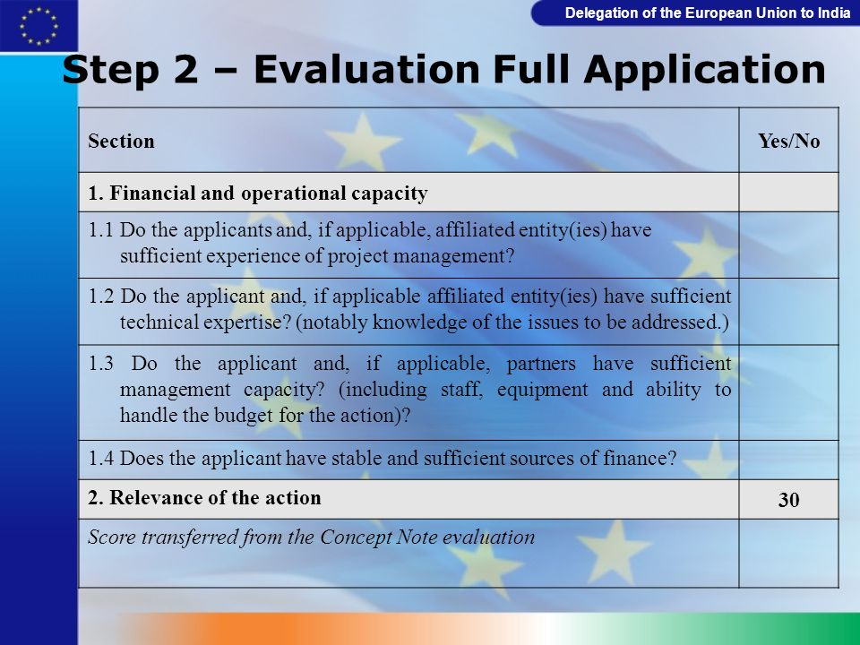 Step 2 – Evaluation Full Application