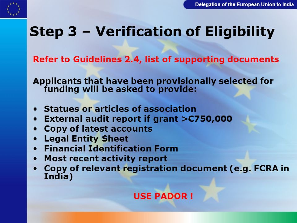 Step 3 – Verification of Eligibility