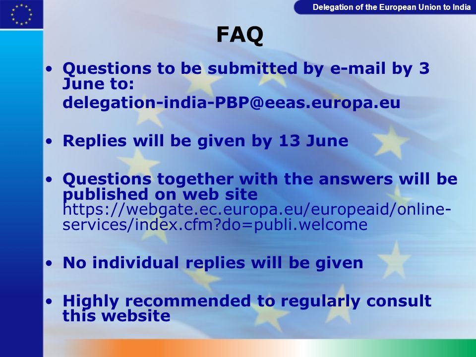 FAQ Questions to be submitted by e-mail by 3 June to:
