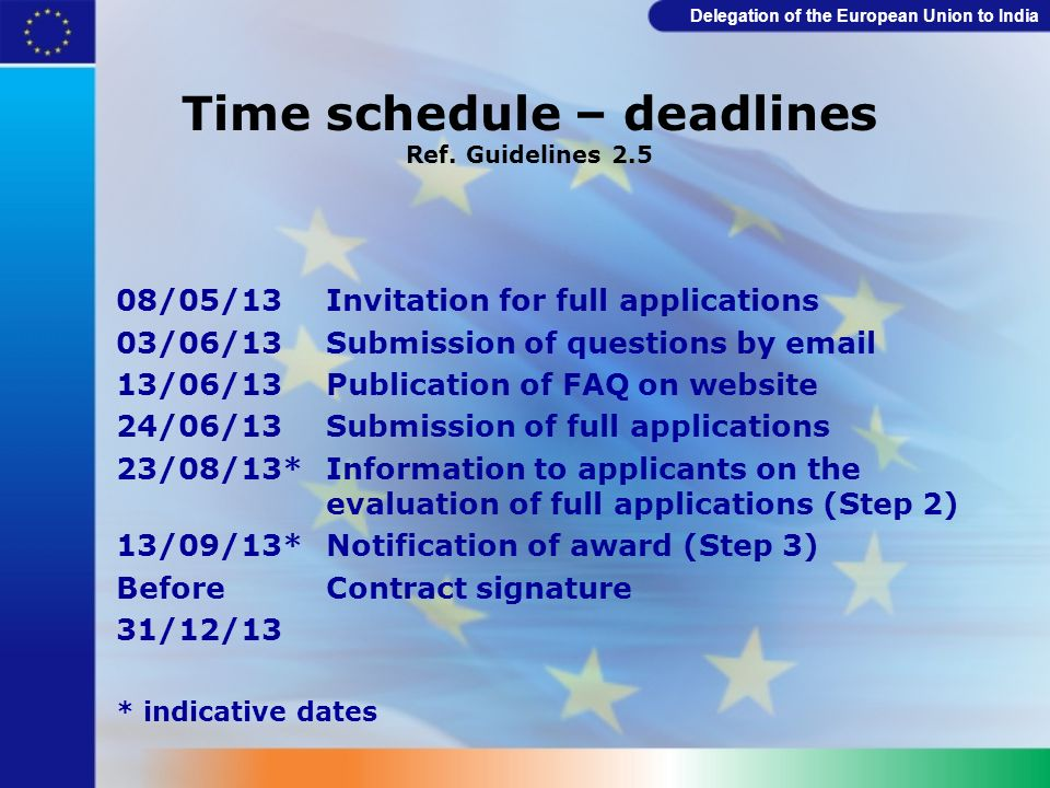 Time schedule – deadlines Ref. Guidelines 2.5