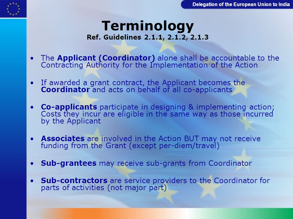 Terminology Ref. Guidelines 2.1.1, 2.1.2, 2.1.3