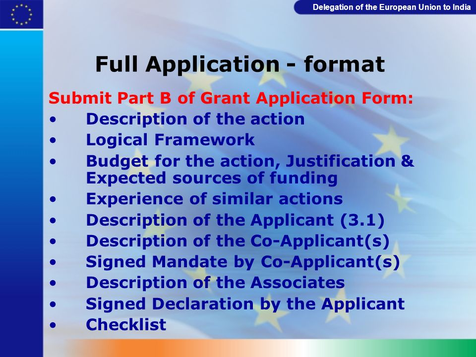 Full Application - format