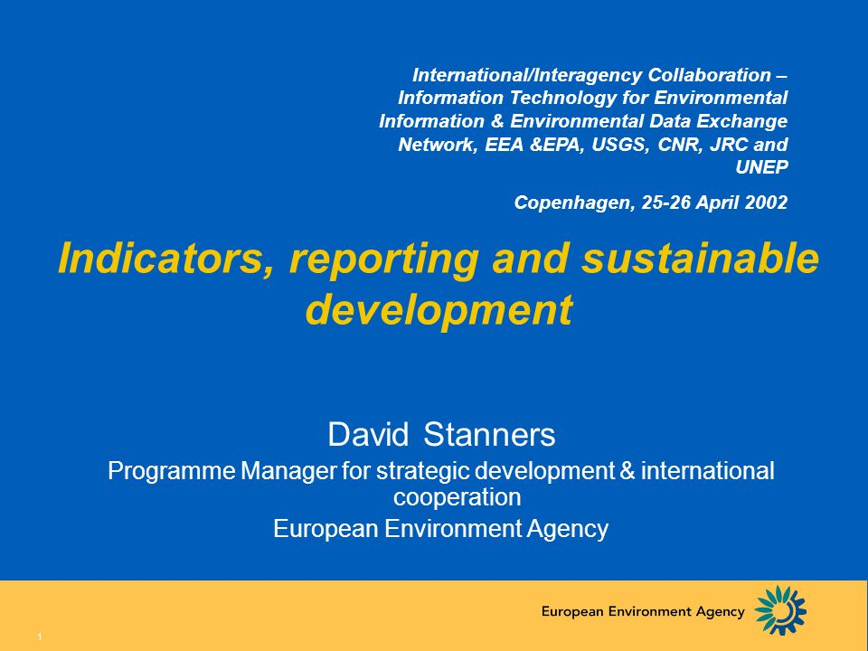 Indicators, reporting and sustainable development