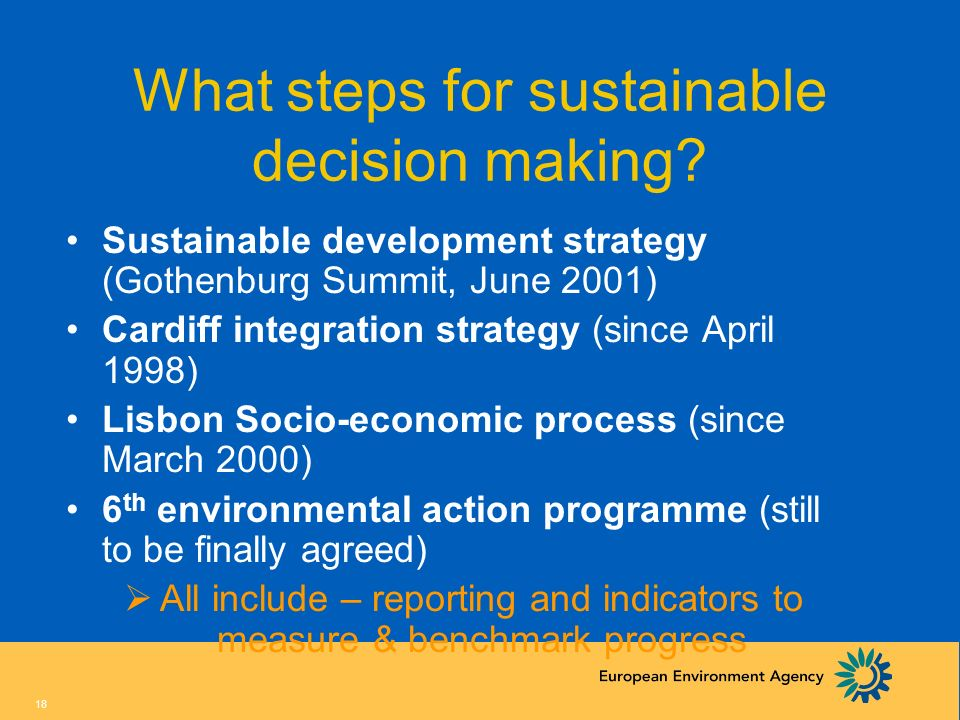 What steps for sustainable decision making