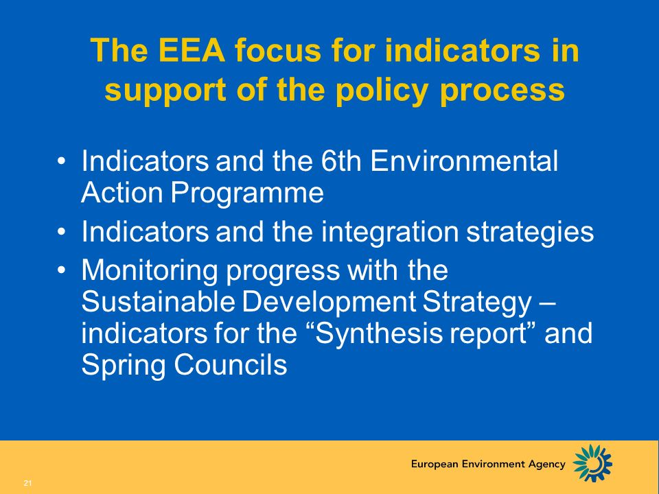 The EEA focus for indicators in support of the policy process