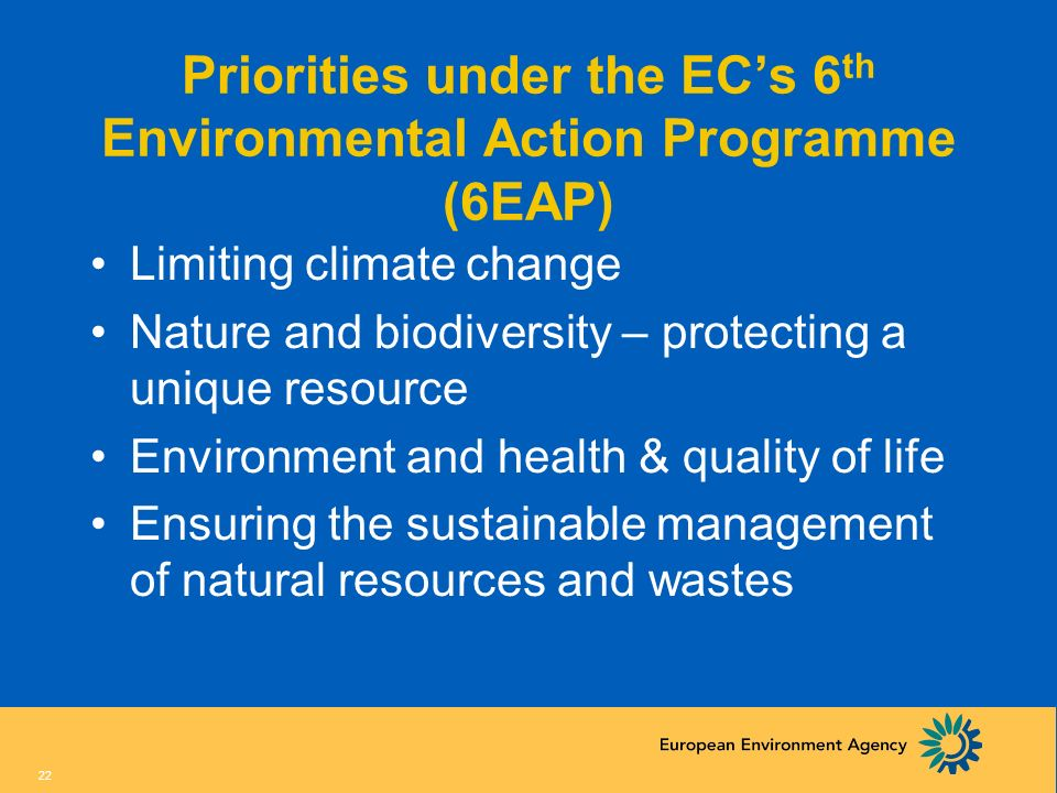 Priorities under the EC's 6th Environmental Action Programme (6EAP)