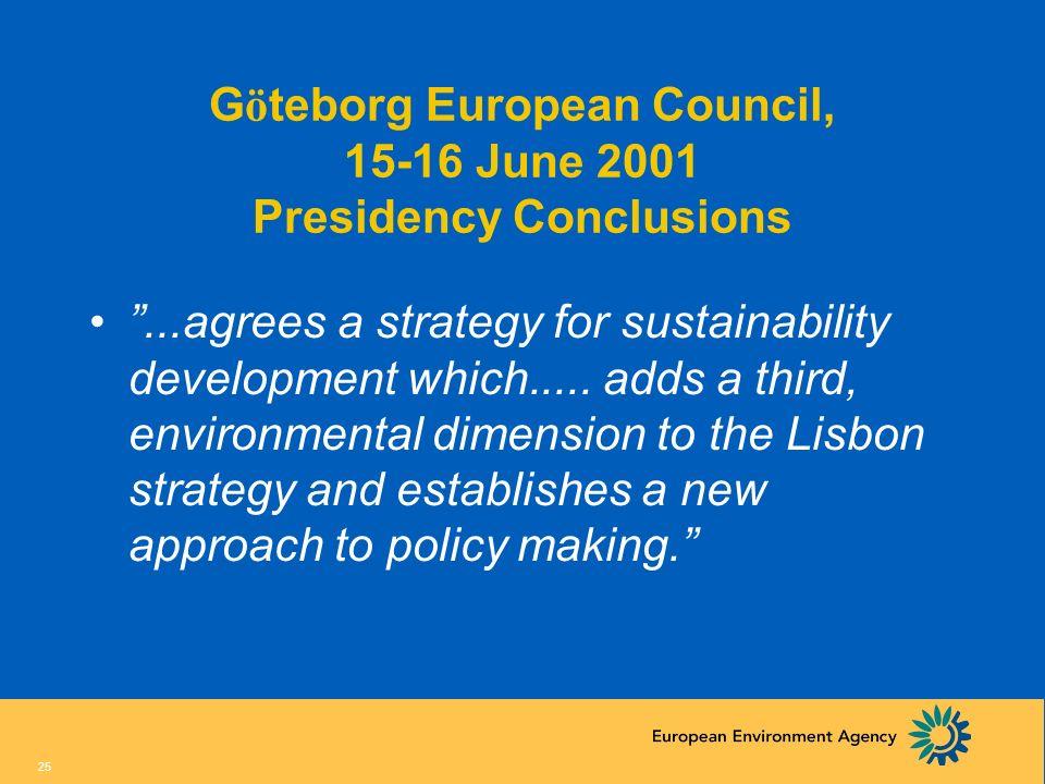 Göteborg European Council, 15-16 June 2001 Presidency Conclusions