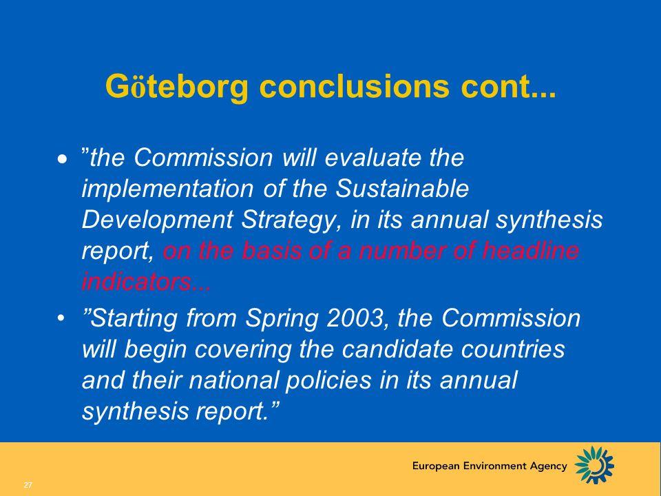 Göteborg conclusions cont...