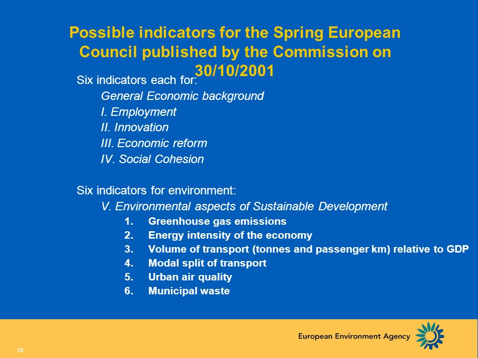 Possible indicators for the Spring European Council published by the Commission on 30/10/2001