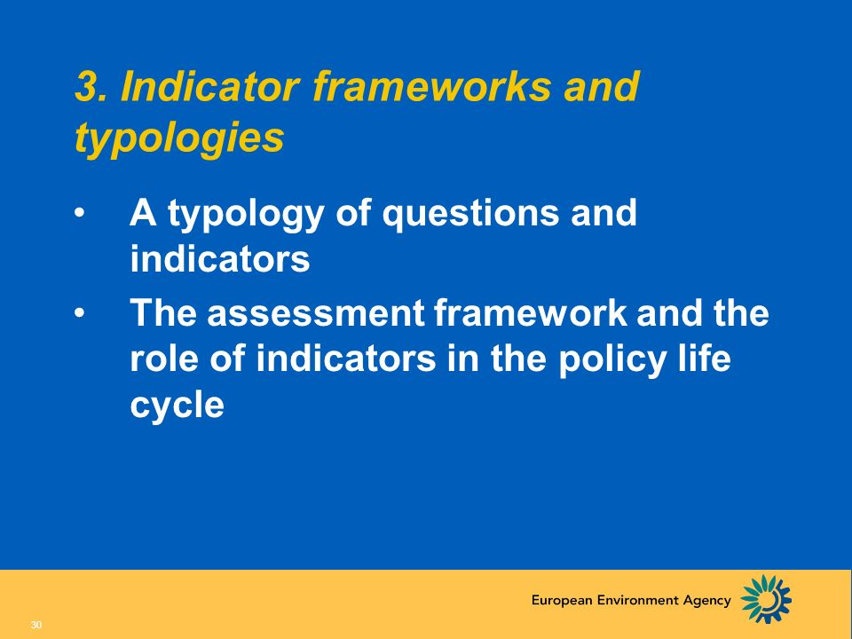 3. Indicator frameworks and typologies