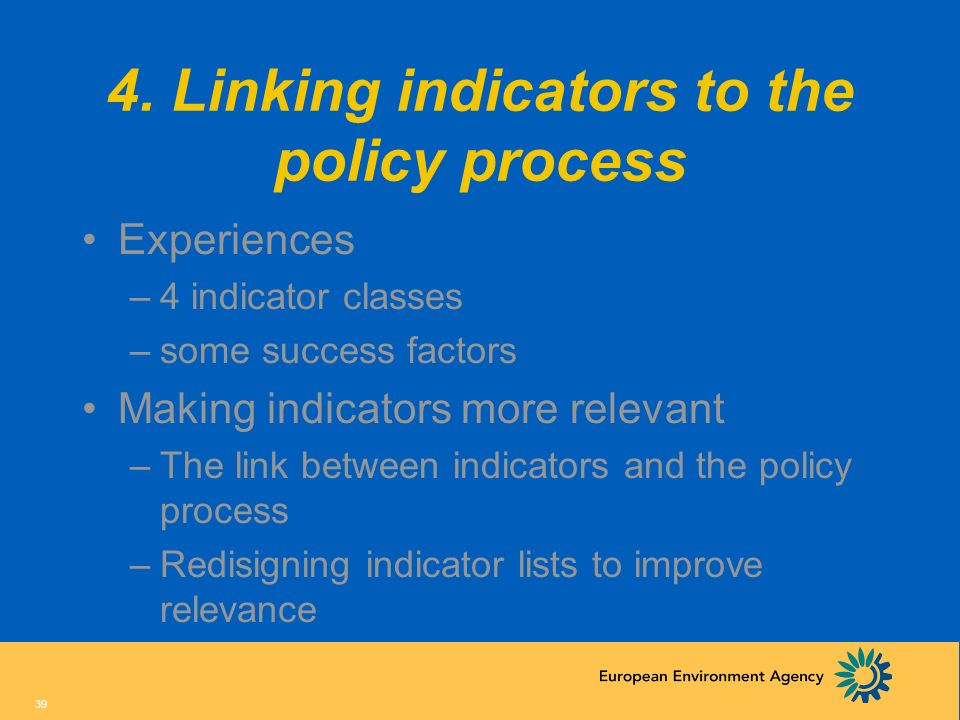 4. Linking indicators to the policy process