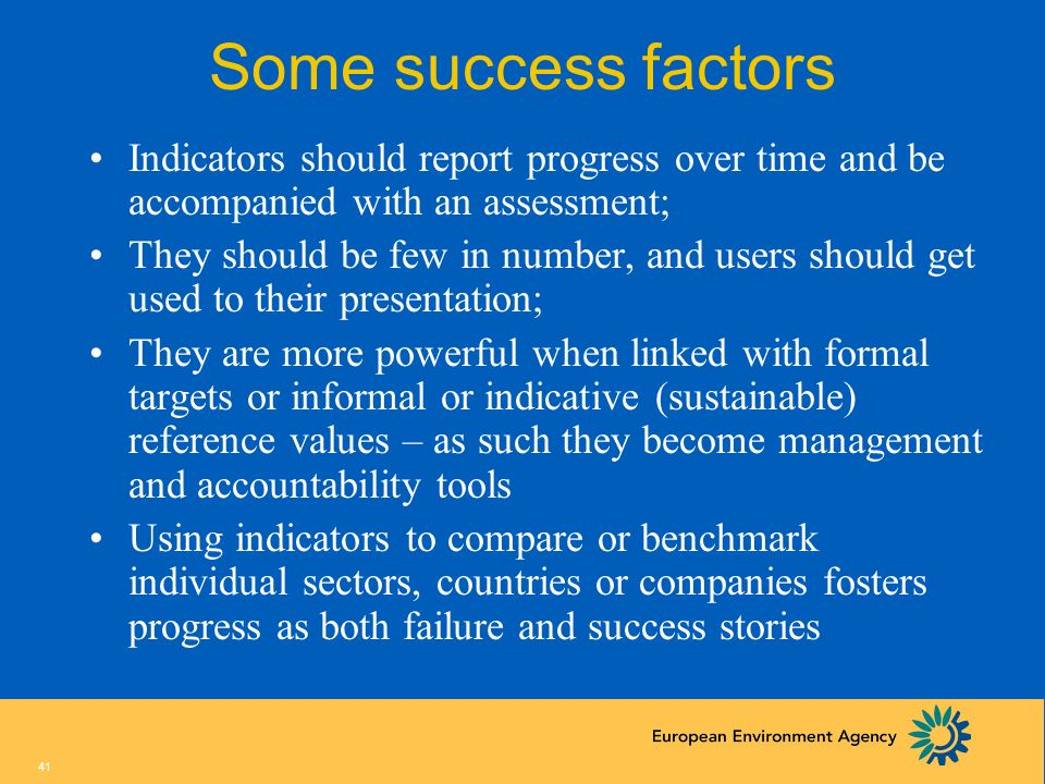 Some success factorsIndicators should report progress over time and be accompanied with an assessment;